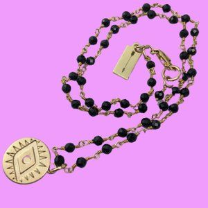 MEGHAN BO 'Keeper' Evil Eye Coin Rosary Necklace